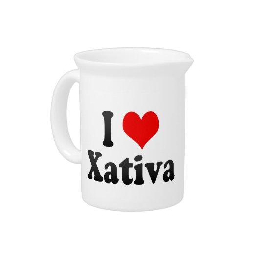 私はXativa、スペインを愛します。 私Encanta Xativa、スペイン ドリンクピッチャー