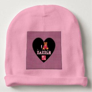 私はZazzleのダイヤモンドのハートの赤ん坊の帽子を愛します ベビービーニー
