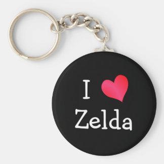 私はZeldaを愛します ベーシック丸型缶キーホルダー