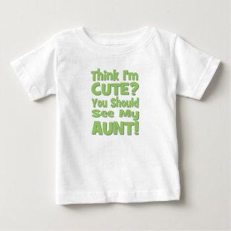 私をありますかわいいですが考えて下さいか。  私の叔母さんに会うべきです! 緑 ベビーTシャツ
