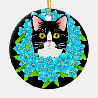 私をないタキシードの猫好きの花模様カット忘れて下さい セラミックオーナメント