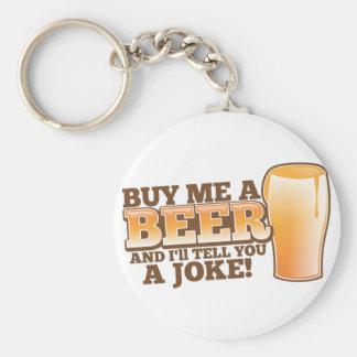 私をビール買えば私は冗談を言います! ベーシック丸型缶キーホルダー