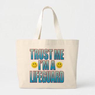 私をライフガードの生命B信頼して下さい ラージトートバッグ