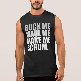 私を傷つけます私をします私にスクラムをしわにして下さい。 ラグビーの恋人のワイシャツ 袖なしシャツ