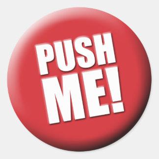 私を大きい赤いボタン押して下さい ラウンドシール