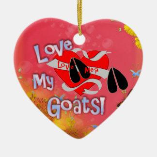 私を愛して下さいか。 私のヤギを愛して下さい! クリスマスのオーナメントのハート セラミックオーナメント