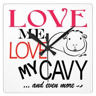 私を愛して下さい、私のcavyを愛して下さい スクエア壁時計