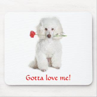 私を愛するために得られるカーネーションのマウスパッドの白いプードル マウスパッド
