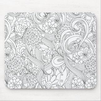 私を着色して下さい•ツバキの花模様 マウスパッド
