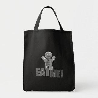 私を食べて下さい! ジンジャーブレッドマン-灰色B&W トートバッグ