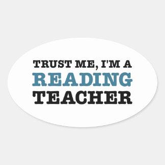 私を、私あります読書先生が信頼して下さい 楕円形シール