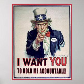 「私をAccountable握りなさいことを米国市民言います ポスター