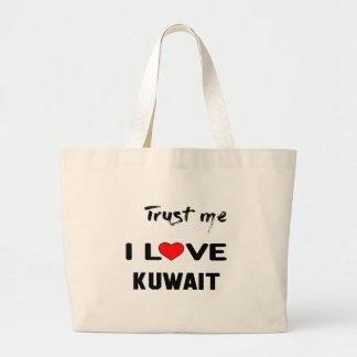 私をI愛クウェート信頼して下さい ラージトートバッグ