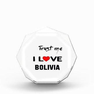 私をI愛ボリビア信頼して下さい 表彰盾