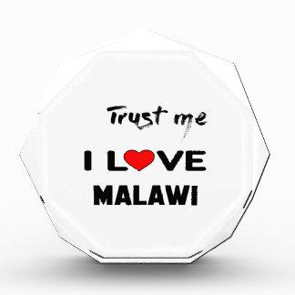 私をI愛マラウィ信頼して下さい 表彰盾