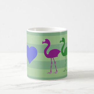 """""""私ハートのフラミンゴ""""のコーヒー・マグ(緑か紫外線) コーヒーマグカップ"""
