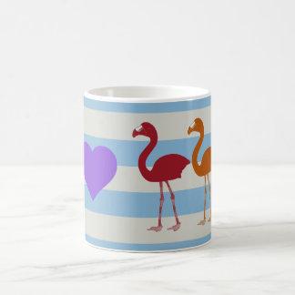 """""""私ハートのフラミンゴ""""のコーヒー・マグ(LtBlueかバイオレット) コーヒーマグカップ"""