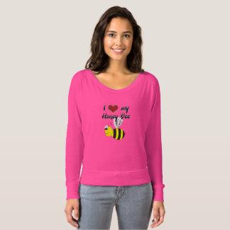 私愛肩のワイシャツを離れた私の蜂蜜の蜂のピンクFlowy Tシャツ