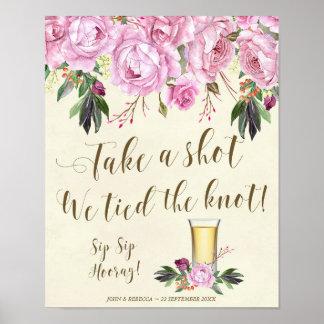 私達が結び目の結婚式の印の薄紫を結んだ打撃を取って下さい ポスター