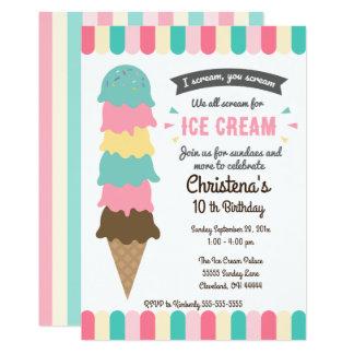 私達すべて叫びのアイスクリームの誕生日のパーティの招待状 カード