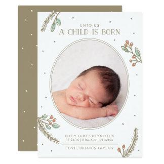 私達に子供は生まれる休日の誕生の発表です 12.7 X 17.8 インビテーションカード