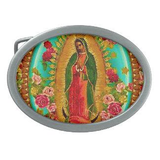 私達のグアダルペ女性メキシコ聖者聖母マリア 卵形バックル