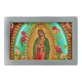 私達のグアダルペ女性メキシコ聖者聖母マリア 長方形ベルトバックル