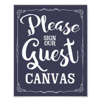 私達のゲストのキャンバスの結婚式の印に署名して下さい フォトプリント