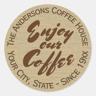 """""""私達のコーヒー""""家または商号を楽しんで下さい ラウンドシール"""