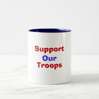 私達のサポート軍隊 ツートーンマグカップ