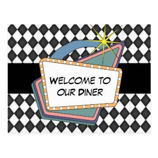 私達のダイナーのテーブルの郵便はがきへの歓迎 ポストカード