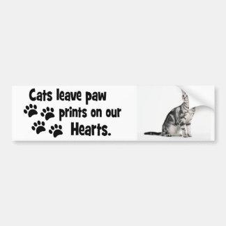 私達のハートの猫の許可の足跡 バンパーステッカー