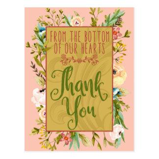 私達のハートの花柄の底は郵便はがき感謝していしています ポストカード