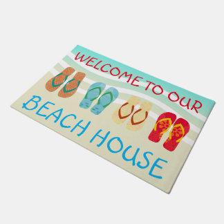 私達のビーチハウスのドア・マットへの歓迎 ドアマット