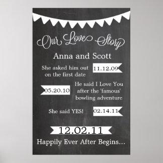 私達のラブストーリーの印をバントする黒板 ポスター