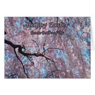 私達の両方からのハッピーイースターピンクの桜 カード