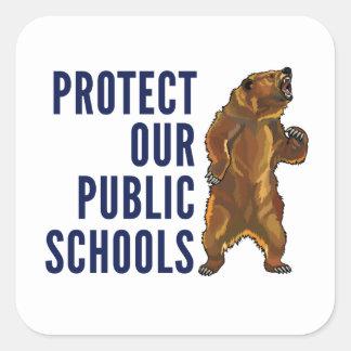 私達の公立学校のステッカーを保護して下さい スクエアシール