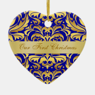 私達の初めてのクリスマスの青い金ゴールドのダマスク織のオーナメント セラミックオーナメント
