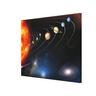 私達の太陽系のデジタルによって発生させるイメージ キャンバスプリント