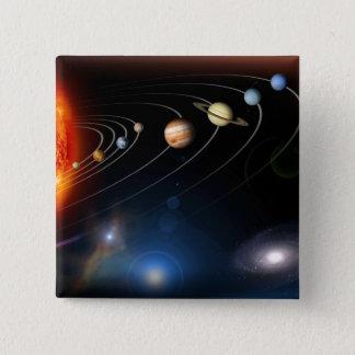 私達の太陽系のデジタルによって発生させるイメージ 5.1CM 正方形バッジ