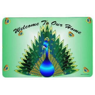 私達の家の孔雀のドア・マットへの歓迎 フロアマット