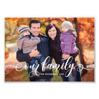 私達の家族のモダンな書道の上敷の家族写真 フォトプリント