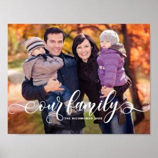 私達の家族のモダンな書道の上敷の家族写真 ポスター