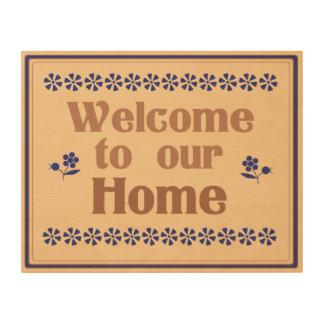 私達の家14x11木芸術への歓迎 ウッドウォールアート