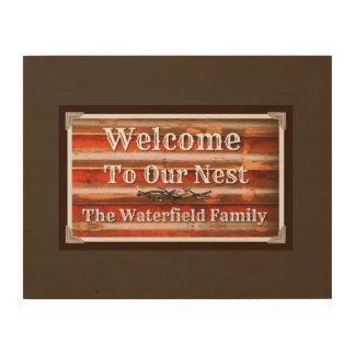 私達の巣への歓迎 ウッドウォールアート