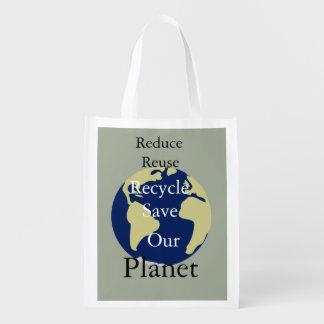 私達の惑星を減らして下さい、再使用して下さい、リサイクルして下さい、救って下さい エコバッグ