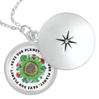 私達の惑星スローガンおよびアイコンを救って下さい スターリングシルバーネックレス