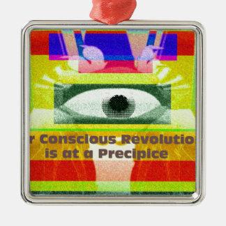 私達の意識した革命は絶壁にあります メタルオーナメント