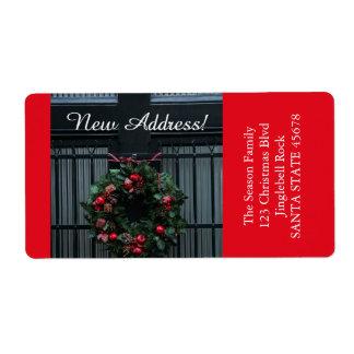 私達の新しい住所クリスマスのリースから ラベル