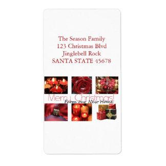 私達の新しい家の赤いクリスマスのコラージュから ラベル